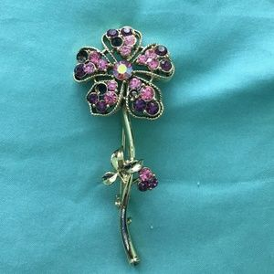 Purple and gold flower brooch
